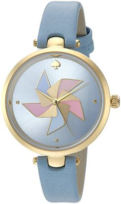 Kate Spade Women's 'Holland' Quartz Stainless Steel and Leather Casual Watch, Color:Blue (Model: KSW1231)