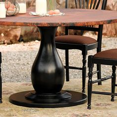 trieste pedestal dining table base in black - Copper Kitchen Table
