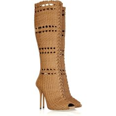 Gucci Woven leather boots ($1,500) ❤ liked on Polyvore featuring shoes, boots, gucci, sapatos, botas, woven-leather shoes, camel boots, laced up boots, camel shoes and lace up high heel shoes