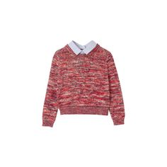 CARVEN ❤ liked on Polyvore featuring tops, sweaters, jumpers, shirts, shirt top, red shirt, red top, red sweater and red jumper