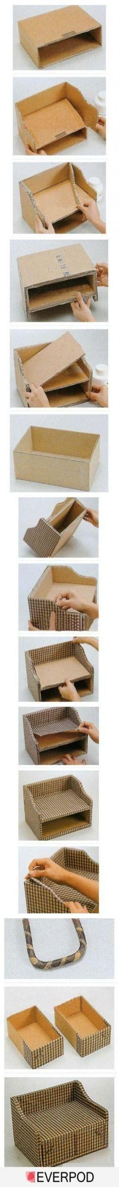 Craft Cardboard Box Diy Storage Ideas For 2019 Desk Organization Diy, Diy Desk, Ikea Desk, Organising, Organizing Ideas, Cute Crafts, Diy And Crafts, Crafts For Kids, Cardboard Furniture