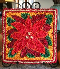 Locker Hooking Poinsettia Mat Kit Free Pattern From Color Crazy Rug