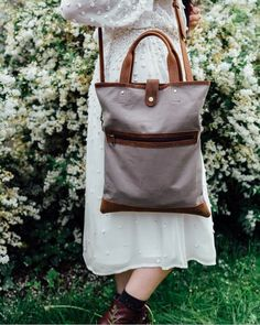 Canvas and Leather Foldover Bag from Scaramanga's collection of new Summer 2018 bag. Canvas Bags, Canvas Handbags, Foldover Bag, Weekend Travel Bag, Canvas Shoulder Bag, Shopper Tote, Canvas Backpack, Leather Accessories, Fashion Backpack