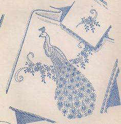 Vintage Aunt Martha Patterns | Vintage LARGE PEACOCKS Embroidery Pattern, Aunt Martha's Hot Iron ...