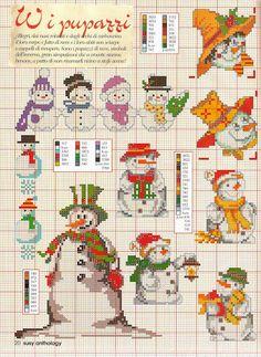 Point de croix Bonhommes de neige : ❤️*❤️ cross stitch.
