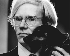 Portrait of Andy Warhol with a dog, 1966-1977, by Jack Mitchell.
