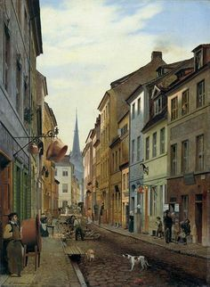 Parochialstrasse in Berlin 1831, German Painter Eduard Gaertner (1801-1877) ~ Blog of an Art Admirer