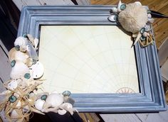 Home Decor Rustic Handcrafted Frame with Coastal Inspiration with Natural Sea Shells and Sea Life - Loving Coastal Living