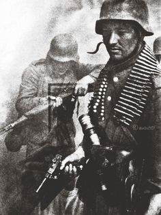 German Soldier in WWII with Luger (German-made pistol)