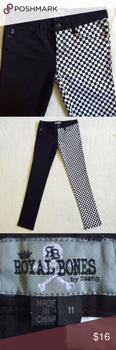 b63992a8d2 Halvsies Checkered Pants Super cool half and half pants. 1 leg in black and  white checkered pattern