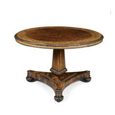COBHAM -- Regency burr yew, rosewood and holly centre table ca 1815, attr Bullock, 3'8''dia, BI'd 20-30K gbp