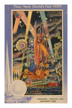 Stylized poster depicting the fireworks at the 1939 NY World's Fair