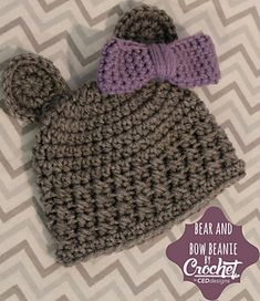 Make this cute, cuddly bear beanie for any new member of a family! Color combinations are endless! •✿• Teresa Restegui http://www.pinterest.com/teretegui/ •✿•