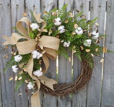 Cotton Wreath   Wreath Great For All Year Round   Everyday Cotton Wreath, Door  Wreath, Burlap Bow Wreath, Etsy Wreath