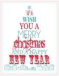 Turquoise & red Christmas - free printable!