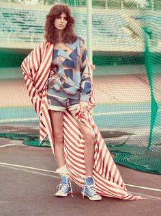 Anthonina Petkovic hits the race track in red, white and blue fashions stars in Vogue Brazil Magazine March 2016 issue