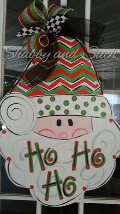Santa Christmas Chevron And Dots Holiday Wood Door Hanger Door Decor