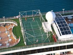 Cruise Ship with a tennis court. Been on many a cruise ship but never a one had a tennis court  :(