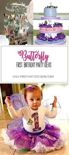 Butterfly First Birthday Party | Halfpint Design - fun ideas for a butterfly party Butterfly 1st Birthday, Butterfly Birthday Party, Tea Party Birthday, Baby First Birthday, First Birthday Parties, Birthday Party Decorations, Girl Birthday, First Birthdays, Birthday Ideas