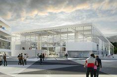 """Alle Fotos: OMA    OMA hat den Wettbewerb für die neue """"École Centrale Ingenieurschule"""" in Saclay, südwestlich von Paris gewonnen.      Der Wettbewerbsbeitrag von OMA basiert auf dem Konzept einer """"lab city""""."""