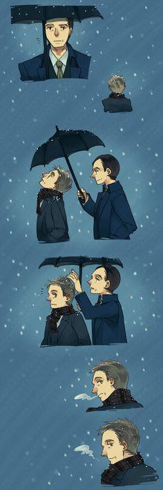 Mycroft Holmes / Gregory Lestrade / Mystrade / BBC Sherlock / snow / umbrella / fanart / fan art / Winter mystrade by zzigae.deviantart.com on @DeviantArt