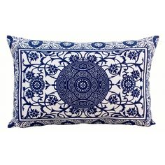 Playing card print cushion cover in indigo