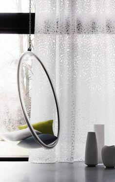 Hanging pod chair & sweet sheer from Casamance Curtain Weights, Hanging Hammock Chair, Hanging Chairs, Pod Chair, Bubble Chair, Casamance, Concept Home, Net Curtains, Curtain Designs
