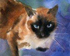 Applehead Cat Art PRINT d'une animal Portrait 4 aquarelle cadeau de Noël