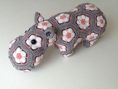 Happy Hippo - Crochet Pattern by Heidi Bears love these colors! Crochet Hippo, Crochet Cross, Love Crochet, Crochet Motif, Diy Crochet, Crochet Dolls, Crochet African Flowers, Crochet Flowers, Crochet Toys Patterns