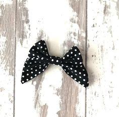 Black polka dot Madeline Bow bow mini hair bow by LillyBelleMarket