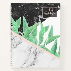 Tropical palm tree black white marble color block notebook - blush pink gifts unique special diy custom