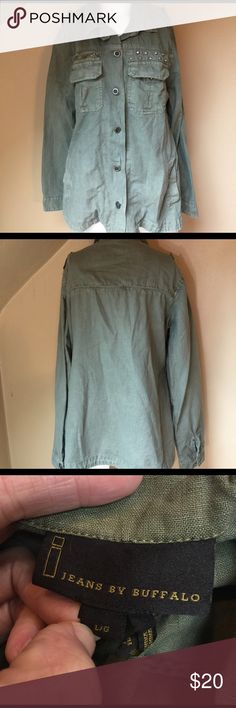 I Jeans by Buffalo linen military coat sz L Get the look! A lovely peice, linen blend thin jacket. Military style. There are no rips or stains. One arm is missing it's Button. Easy fix however the button is missing (you can find one similar at most stores) or wear as is. Chest across 21 inches. No trades or holds. i jeans by Buffalo Jackets & Coats
