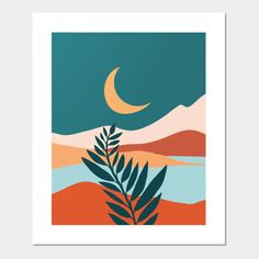 Shop Moonlit Mediterranean landscape posters and art prints designed by moderntropical as well as other landscape merchandise at TeePublic. Simple Canvas Paintings, Easy Canvas Art, Small Canvas Art, Mini Canvas Art, Posca Art, Retro Art, Landscape Posters, Watercolor Art, Design Art
