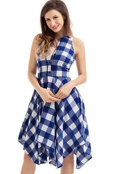 Blue White Denim Checks Button Sleeveless Flared Shirtdress MB61513-5 – ModeShe.com