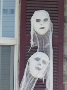 Ghost mask...Cheap plastic masks covered with cheesecloth! Creepy!