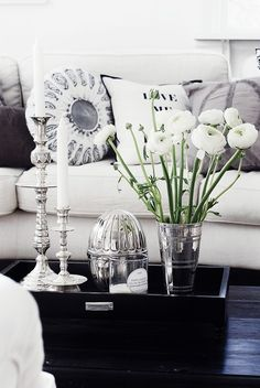 Coffee Table Tray Styling  Great Black And White Vignette With White  Ranunculus In A Vase.