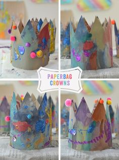 Paper Bag Crowns - ARTBAR Make these beautiful crowns from recycled paper bags, watercolor paints, glitter and pom-poms. Fairy Tale Crafts, Fairy Tale Theme, Fairy Tale Activities, Preschool Activities, Paper Bag Crafts, Paper Bags, Paper Craft, Kids Crafts, Fairy Tales Unit