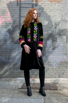 Mix of black velvet with vintage Persian coins and handmade embellishments and embroidery. Very soft ...