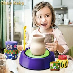 What a great way to introduce your little one to one of the many arts available. Mini DIY Handmake Ceramic Pottery Machine Kids Craft Toys For Boys Girls Pottery Wheels Arts And Crafts Child Toy Best Gift Kids Pottery Wheel, Puzzle Cube, Crafts To Do, Arts And Crafts, Mini Diy, Educational Toys For Kids, Pottery Making, Toy Craft, Diy Toys