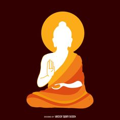 Simple illustration featuring Buddha's silhouette with a robe in orange tones. Minimalist design over a darker background. Buddha Artwork, Buddha Wall Art, Buddha Wall Painting, Budha Painting, Buddha Drawing, Buddha Kunst, Buddhist Art, Silhouette Art, Fabric Painting