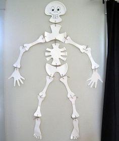 esqueleto con platos reciclados