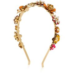 Henri Bendel Palm Beach Flower Headband (215 CAD) ❤ liked on Polyvore featuring accessories, hair accessories, orange multi, hair bands accessories, henri bendel, hair band headband, leather hair accessories and head wrap hair accessories