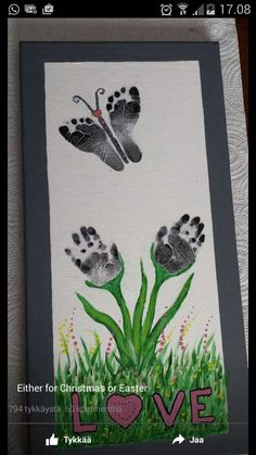 of The BEST Hand and Footprint Art Ideas! Kids crafts with homemade cards, canvas, art, paintings, keepsakes using hand and foot prints! Kids Crafts, Baby Crafts, Toddler Crafts, Crafts To Do, Preschool Crafts, Easter Crafts, Projects For Kids, Art Projects, Stick Crafts