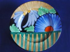 Gray's Pottery Art Deco Hand Painted 'Hampton' Floral Wall Plate c1930