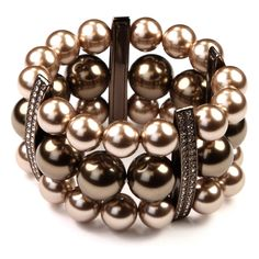 LOVE this! Givenchy Triple Row Pearl and Crystal Stretch Bracelet