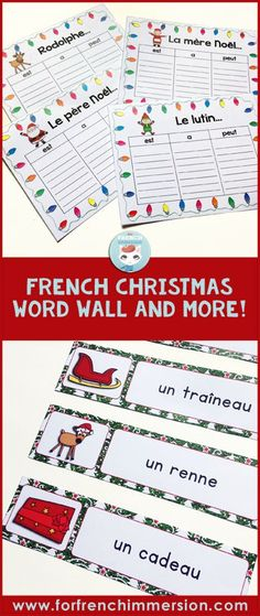 French Christmas word wall cards, graphic organizers, and writing prompts – NOËL
