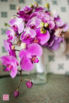 purple orchids wedding bouquet