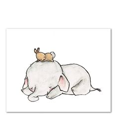 Another great find on #zulily! Shhh Print by trafalgar's square #baby elephant bunny sleeping