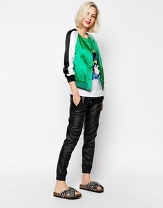 Love Moschino Bomber Jacket with Contrast Stripe Sleeves