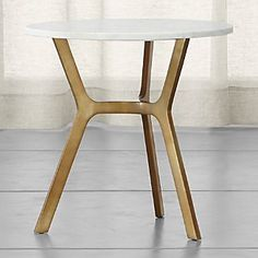 Elke Round Marble Side Table with Brass Base
